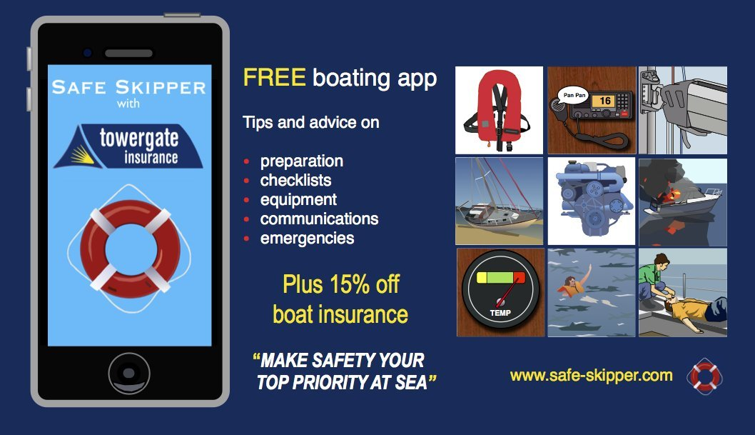 Discount boat insurance from Safe Skipper with Towergate Free app for iPhone & Android