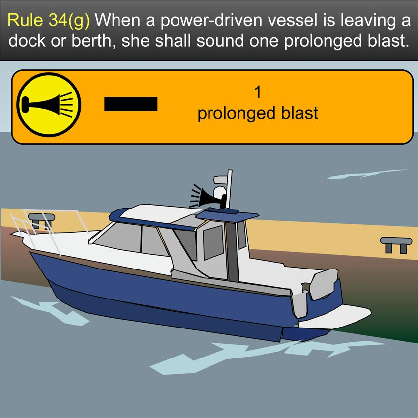 Vessel leaving berth. When a power-driven vessel is leaving a dock or berth, she shall sound one prolonged blast US Inland Navigation Rules #safeskipper #boating #sailing #yacht #motorboat #apps www.safe-skipper.com