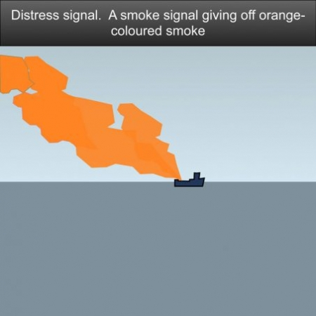 Distress signal A smoke signal giving off orange-colored smoke #safeskipper #boating #sailing #yacht #motorboat #apps