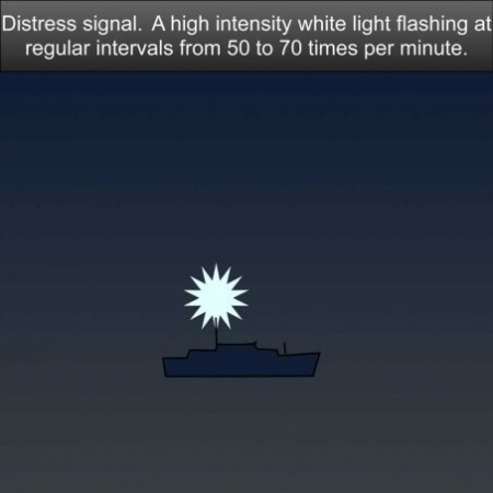 Distress signal - A high intensity white light flashing at regular intervals from 50 to 70 times per minute US Inland Navigation Rules #safeskipper #boating #sailing #yacht #motorboat #apps