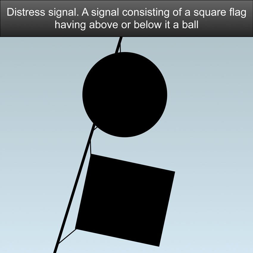 Distress Signals US Inland Navigation Rules - A signal consisting of a square flag having above or below it a ball or anything resembling a ball Maritime distress signal, a dye marker - US Inland Navigation Rules #safeskipper #boating #sailing #yacht #motorboat #apps