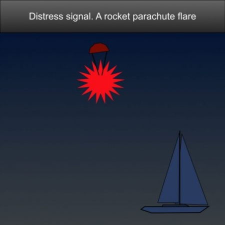 Boating SOS Distress Signals - A rocket parachute flare or a hand flare showing a red light #safeskipper #boating #sailing #yacht #motorboat #apps