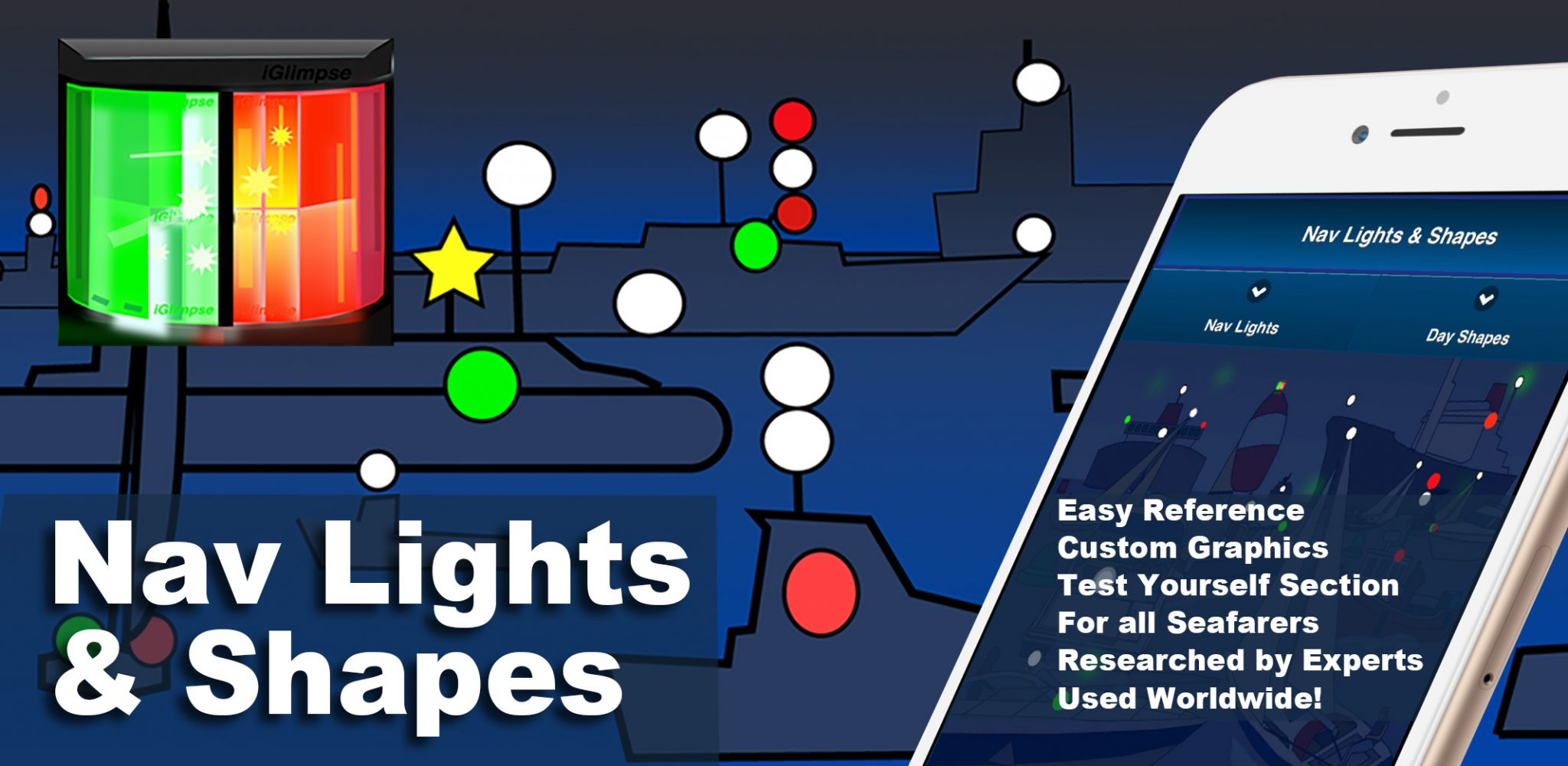 """Colregs: Nav Lights & Shapes App provides skippers and crew of recreational and commercial vessels with a quick reference tool to help them identify vessels in their vicinity and the activities they are engaged in, as specified in Part C: """"Lights and Shapes"""" (Rules 20-31) of the International Regulations for Preventing Collisions at Sea (IRPCS) or ColRegs."""