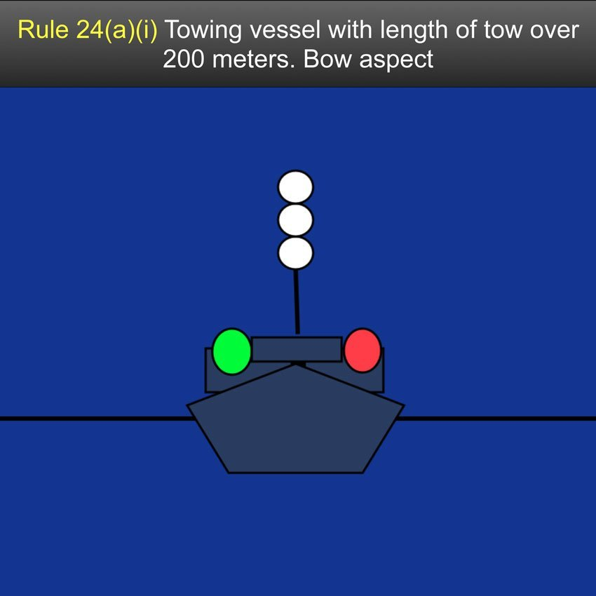 Navigation Rules Rule 24 - Towing and Pushing (a) A power-driven vessel when towing astern shall exhibit: (i) Instead of the light prescribed in Rule 23(a)(i) or 23(a)(ii), (§§ 83.23(a)(i) and (ii)), two masthead lights in a vertical line. When the length of the tow, measuring from the stern of the towing vessel to the after end of the tow exceeds 200 meters, three such lights in a vertical line;