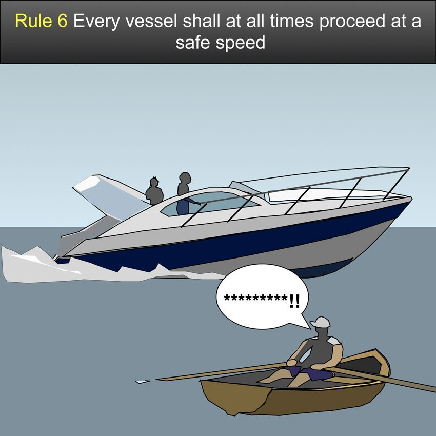 Safe speed - Every vessel shall at all times proceed at a safe speed so that she can take proper and effective action to avoid collision and be stopped within a distance appropriate to the prevailing circumstances and conditions #safeskipper #boating #sailing #yacht #motorboat #apps