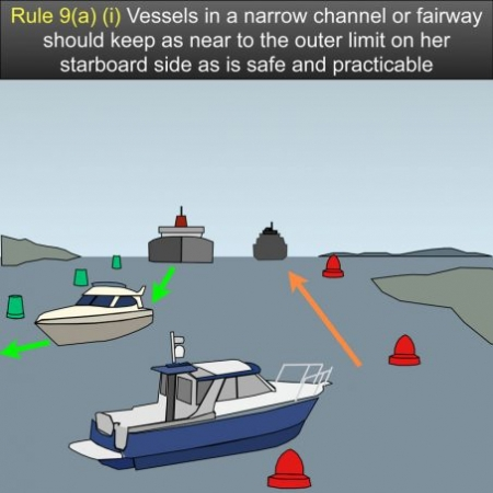 Rule 9 narrow channels - A vessel proceeding along the course of a narrow channel or fairway shall keep as near to the outer limit of the channel or fairway which lies on her starboard side as is safe and practicable US Inland Navigation Rules #safeskipper #boating #sailing #yacht #motorboat #apps
