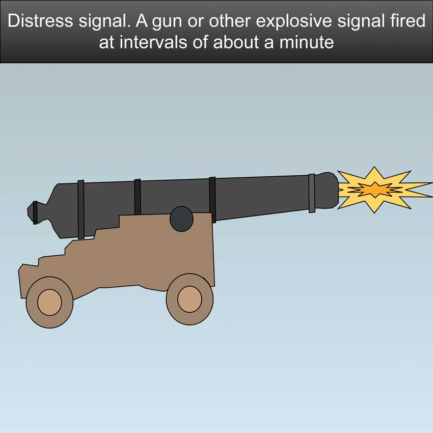Distress Signal - A gun or other explosive signal fired at intervals of about a minute