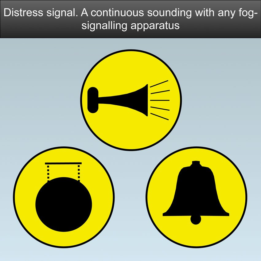 Distress Signal SOS - A continuous sounding with any fog-signaling apparatus