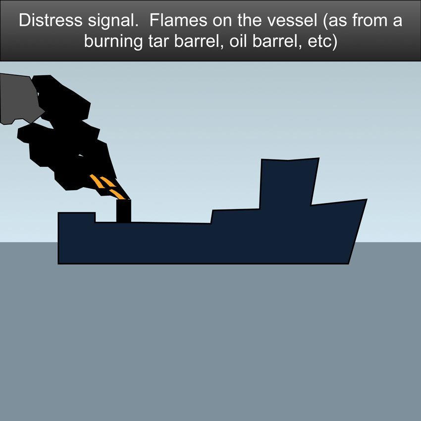 Distress Signal on a boat SOS - Flames on the vessel (as from a burning tar barrel, oil barrel, etc. #safeskipper #boating #sailing #yacht #motorboat #apps