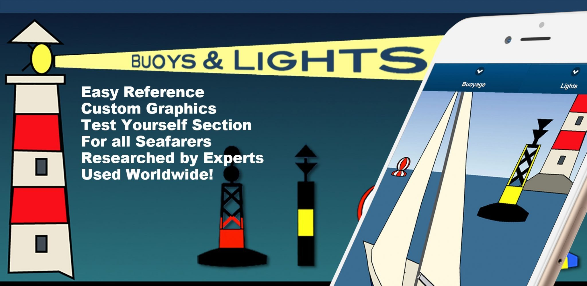Learn Nautical Buoys & Lights for all sailors, skippers, app made by experts